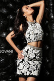 Jovani 55241 two piece lace fitted skirt short dress in Black/Ivory or Ivory/Nude
