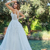 Adagio Bridal W9371 plunging v neckline with mesh panel beaded applique tulle wedding dress bridal gown ball gown Colors  Ivory  Sizes  00,0,2,4,6,8,10,12,14,16,18,20,22,24,26,28,30