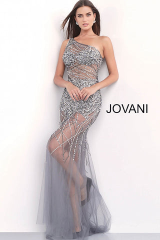 Jovani 55567 Gunmetal and Rose Gold one shoulder strap prom dress