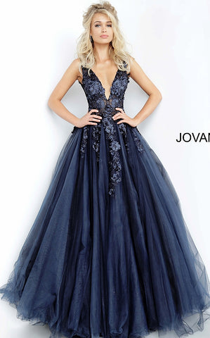 Jovani 55634 floral appliques 2020 prom dress ballgown Lace Tulle Long V Neck