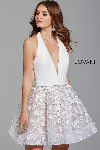 Jovani Ivory Fit and Flare Halter Neckline Backless Short Dress 55738