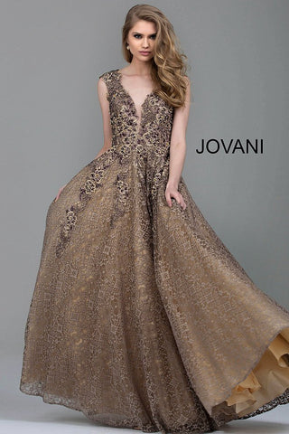 Jovani Taupe Embroidered Lace A-Line Evening Gown 55877