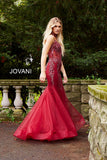 Jovani 56032 Embellished Mermaid Prom Dress V Neck choker Pageant Gown