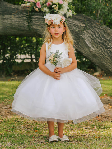 Girls Tea Length Size 2 White Flower Girl Dress Satin Bodice Layer Ruffle Tulle Skirt