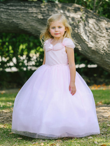 Long Girls Size 2 Pink Off the shoulder Cinderella Dress Shimmer Flower Girl Pageant