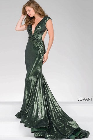 Jovani 56969 deep V neckline cap sleeve sequin gown with cutouts and train in gunmetal, navy, olive