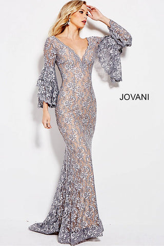 Jovani 57048 Long Bell Sleeves Embellished Lace Mermaid Prom Dress