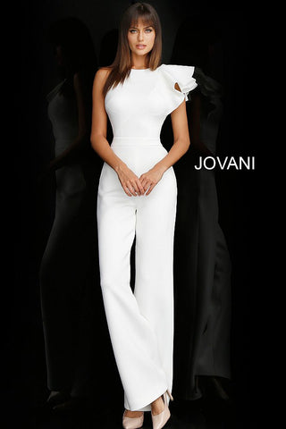 Jovani 57239 strapless ruffle shoulder jumpsuit