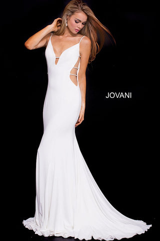 Jovani 57295 plunging neckline jersey prom dress