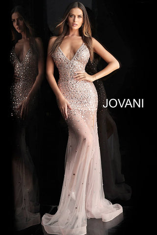 Jovani 57300 Black or Blush sheer couture embellished pageant gown