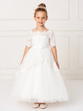 Girls Lace Off the Shoulder sleeve Communion corset Flower Girl Dress Size 2-16