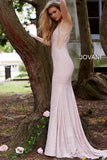 Jovani 57897 plunging neckline embellished fitted prom dress