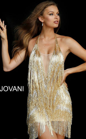 Jovani 57907 Gold Embellished Fringe Backless Cocktail Dress 57907