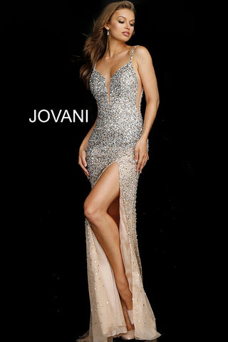 Jovani 57932 embellished v neckline high slit prom dress