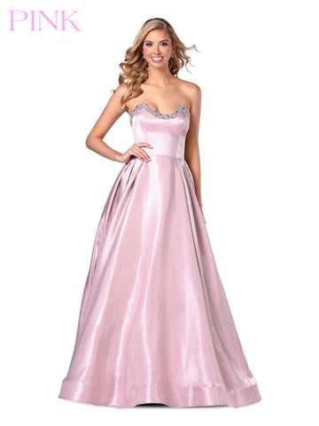 Blush PINK 5801 Long Strapless Embellished Prom Dress Ballgown Pleated Gown