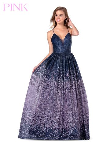 Blush PINK 5802 Long Sequin Glitter Ombre Ballgown Prom Dress Formal V Neck