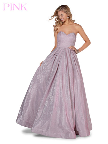 Blush PINK 5803 is a long Iridescent Shimmer Floral Embossed Fabric Ballgown Prom Dress. Strapless Sweetheart neckline with a lush pleated full skirt corset back.