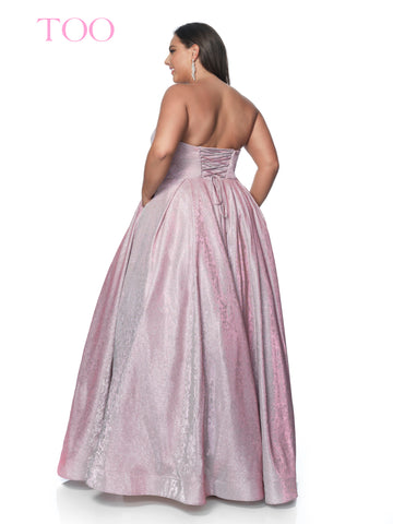 blush too 5803w long iridescent floral plus size ballgown