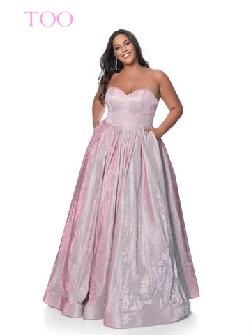 Blush TOO 5803W is a Plus sized Long Iridescent Shimmer Floral print Plus Size Ballgown Prom Dress Shimmer Pockets Pleated skirt Strapless sweetheart neckline corset lace up tie closure