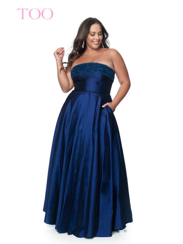 Blush TOO 5805W Long Embellished Plus Size Prom Dress Ballgown Pockets Taffeta