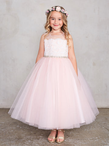 Girls Tea Length Size 4 Blush Lace Flower Girl Dress Tulle Skirt Sheer Neckline