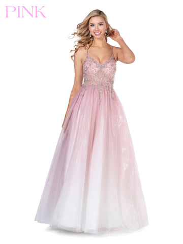Blush PINK 5806 Long Tulle Glitter Ballgown Sheer Embellished Prom Dress