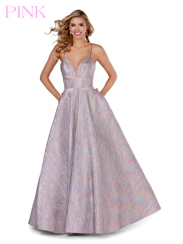 Blush PINK 5807 Long Metallic V Neck Ballgown Pockets Prom Dress Maxi Formal Evening