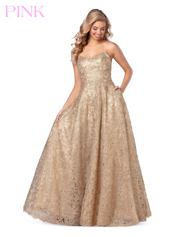 Blush PINK 5809 Long Embellished Metallic Lace Prom Dress Ballgown Pockets 2020