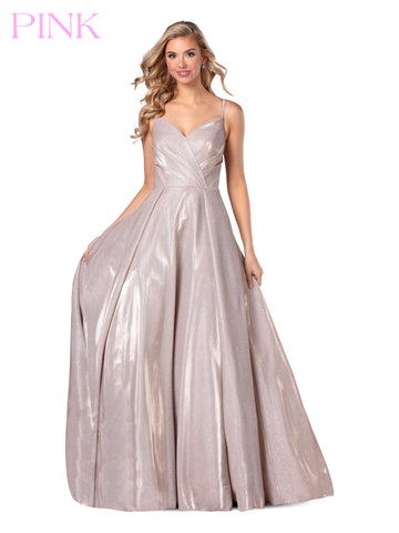 Blush PINK 5811 Long Pleated Metallic Shimmer Ballgown Prom Dress V Neck 2020