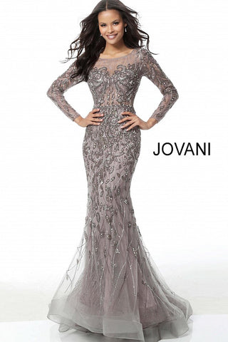 c6c0b22cf23c Jovani Mauve Beaded Long Sleeve Sheer Back Evening Dress 58110 –  GlassSlipperFormals