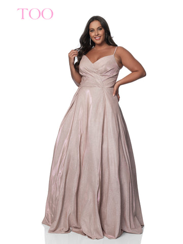 Blush TOO 5811W Iridescent Shimmer Plus Size Prom Dress V neck Ballgown Metallic