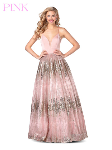 Blush PINK 5812 Long Ballgown Glitter Shimmer Ombre V Neck Prom Dress 2020