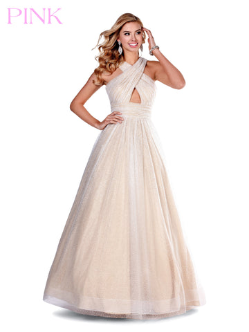 Blush PINK 5813 Long Glitter Tulle Ballgown Keyhole High Neck Prom Dress 2020
