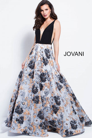 Jovani 58207 plunging neckline black and white print prom dress