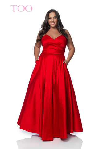 Blush TOO 5830W Long V Neck Taffeta Plus Size Prom Dress V Neck Evening Formal