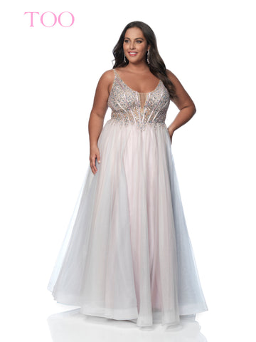 Blush TOO 5831W Long Tulle Ballgown Sheer Corset Plus Size Prom Dress V neck 2020