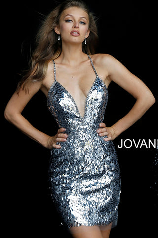 850423d8e13 Jovani Gunmetal Spaghetti Straps Fitted Embellished Short Dress 58412