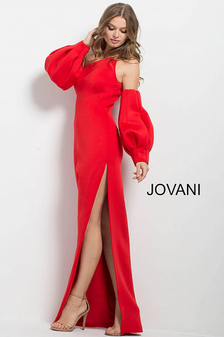 Jovani 58511 one shoulder puff sleeves dramatic evening gown