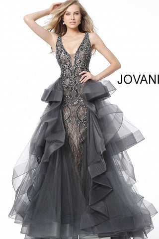 5feaedc6a44a00 Jovani Gunmetal Embellished Ruffle Overskirt Evening Gown 59059