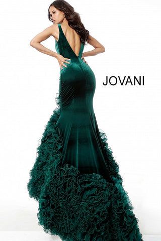 Jovani 59069 Velvet Ruffle Bottom Mermaid Prom Dress