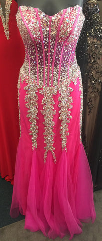 Jovani 5908 Stunning strapless mermaid prom dress features a sweetheart neckline and crystal embellished bodice. Evening gown pageant dress formal dress   Hot Pink /Silver size 2