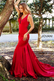 Jovani 59300 v neckline fitted jersey mermaid prom dress