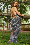 Jovani 59642 plunging neckline beaded fringe couture prom dress