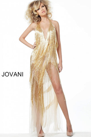 Jovani 59642 Plunging V Neckline hand beaded tassel accents. open back with embellished strap. this backless dress features high side slits. formal evening party gown vintage flapper designer Short High Low Fringe Backless Cocktail Formal Party dress.  Available Colors: gold, gunmetal  Sizes: 00-24