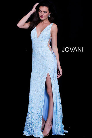 Jovani 59668 embellished lace lace up sides prom dress