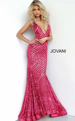 Jovani 59762 Deep V neckline Sequin Embellished mermaid Pageant Prom Dress, Deep V Neckline with sheer mesh side cutout panels. lush trumpet skirt with sweeping train  Available Color: Fuchsia  Available Size: 8