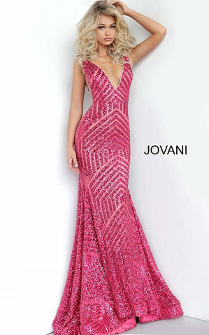 Jovani 59762 Sequin Embellished plunging neckline prom dress
