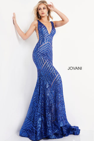 Long Jovani 59762 Prom Dress, Featuring a plunging neckline & A Fully sequined Fitted Mermaid Bodice. This Open V Back Pageant Gown & prom dress is perfect for the stage is has a lush trumpet sequin embellished skirt and sweeping train.