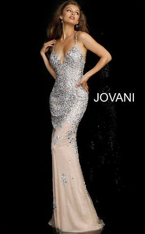 Jovani 59852 crystal beaded nude silver evening gown prom dress