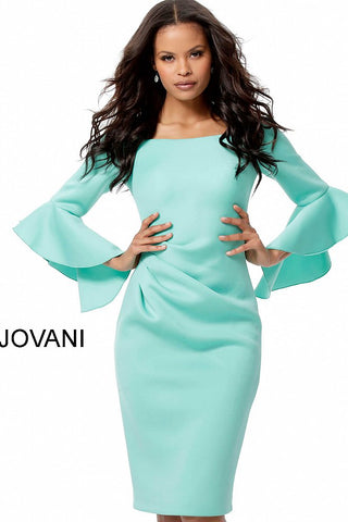Jovani Aqua Scuba Bell Sleeve Knee Length Dress 59992
